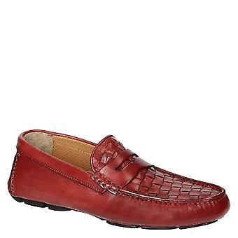 Roten Weaven Leder fahren Mokassins für Herren