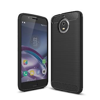 Motorola Moto G5S TPU case carbon fiberoptik børstet etui sort
