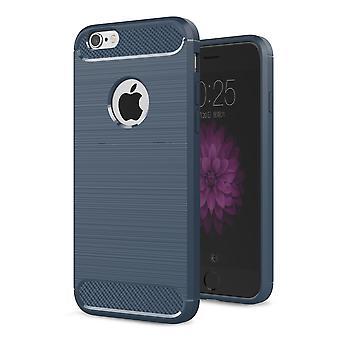 Apple iPhone 6 / 6s Plus Cover TPU Case Silikon Schutz-Hülle Handy Bumper Carbon Optik Blau