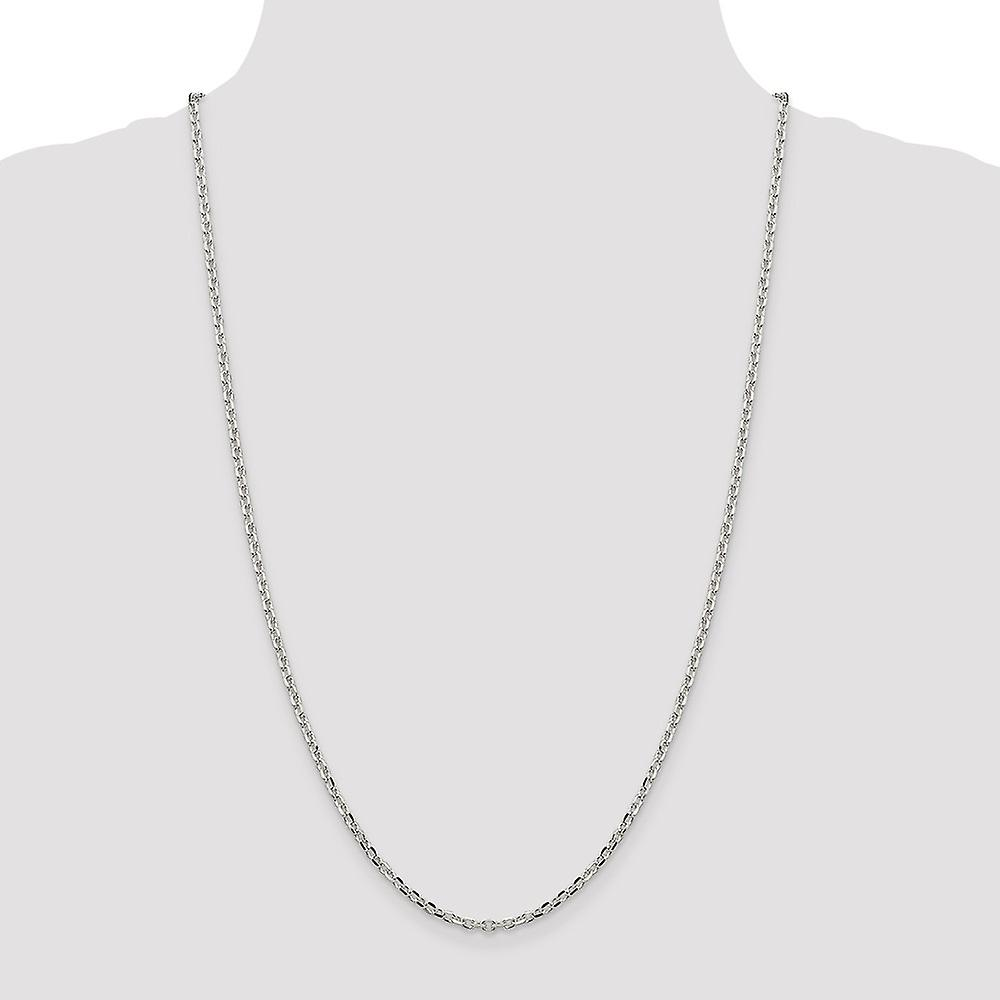 925 Sterling Silver Polished Beveled Edge Lobster Claw Closure 2.75mm Cable Pendant Necklace Chain Lobster Claw Jewelry