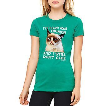 Grumpy Cat Opinion Women's Kelly Green Funny T-shirt