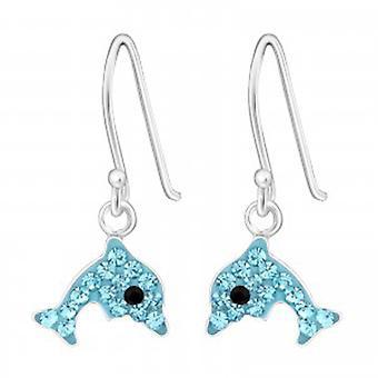 Dziewczyn niebieski kryształ dolphin srebrny hoop kolczyki