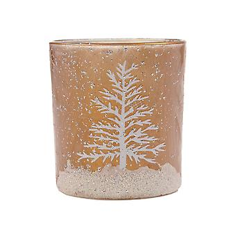 Puckator Winter Scene Tea Light Holder, Gold