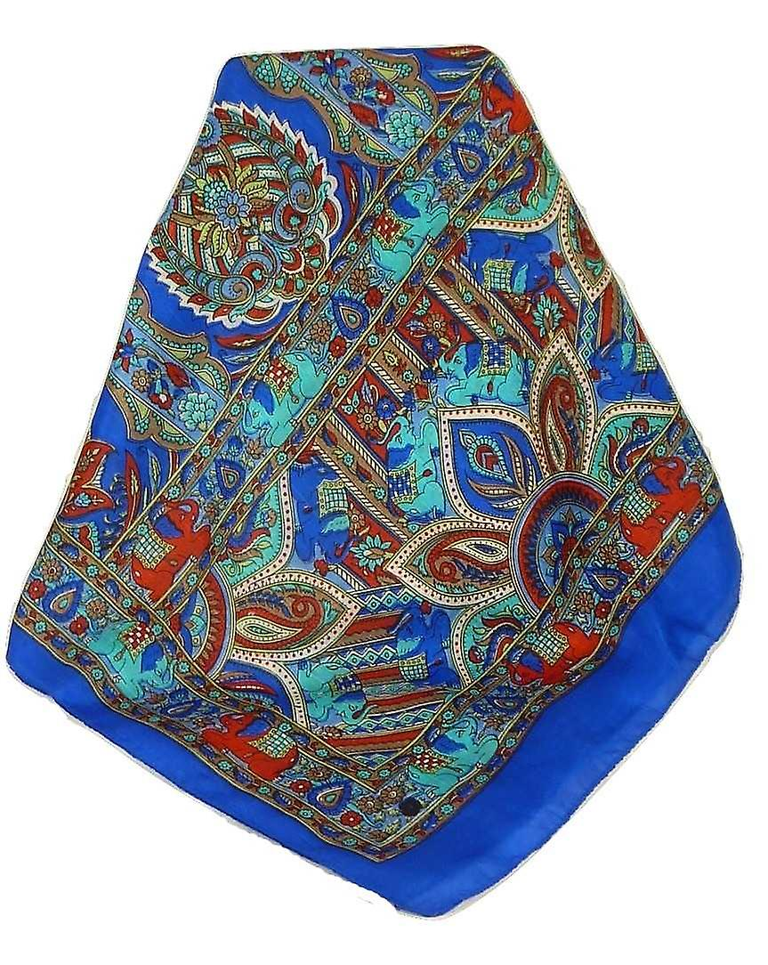 Classic Paisley Long Scarf Mulberry Silk Dara French Blue by Pashmina & Silk