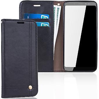 Celular capa capa para carteira de capa Samsung Galaxy A8 2018 bolsa preta