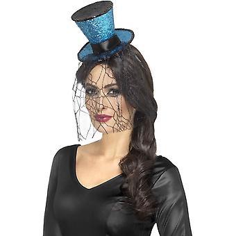 Mini Gothic Top Hat on Headband, Blue, with Detachable Veil