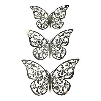 12pcs mariposas 3D en metal, decoración de la pared-hoja de plata