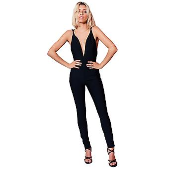 Lovemystyle Low Plunge Backless Jumpsuit In Black