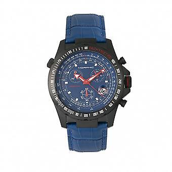 MORPHIC M36 serie lederen-Band chronograaf horloge - zwart/blauw
