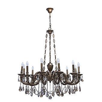 Glasberg  -  Antique Brass Twelve Light Chandelier With Champagne Crystals  491010712