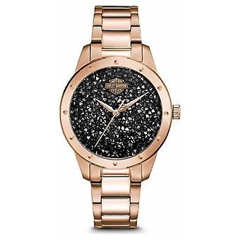 Harley Davidson Women's Crystal Set Black Dial | Rose Gold Stainless Steel 77L108 Watch