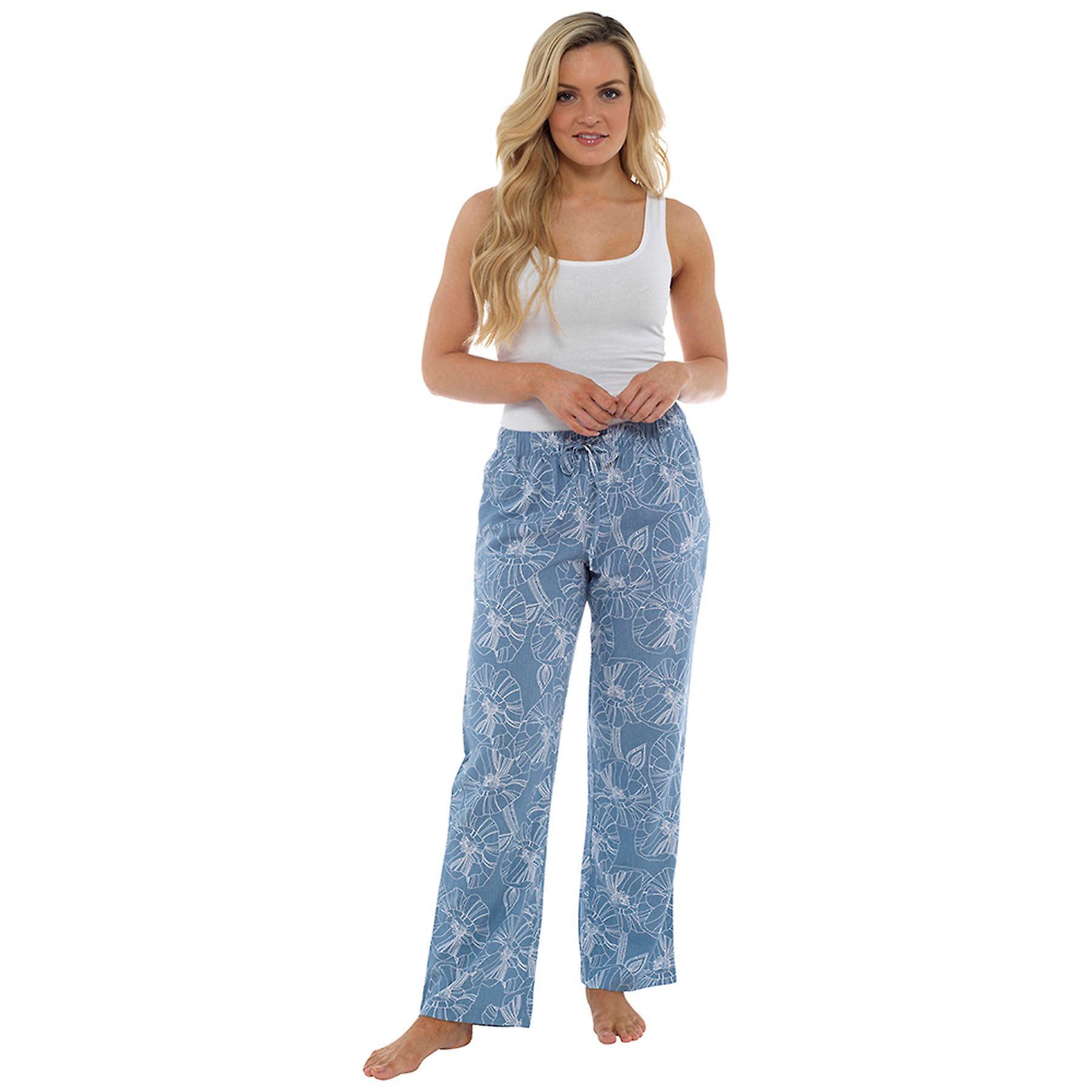 Dame blomsterprint elastik taljen linned rige bukse