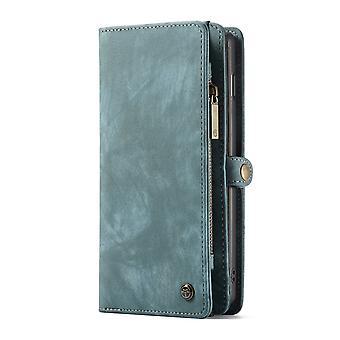 CASEME Samsung Galaxy S10 + Carteira de couro retro Case-Blue