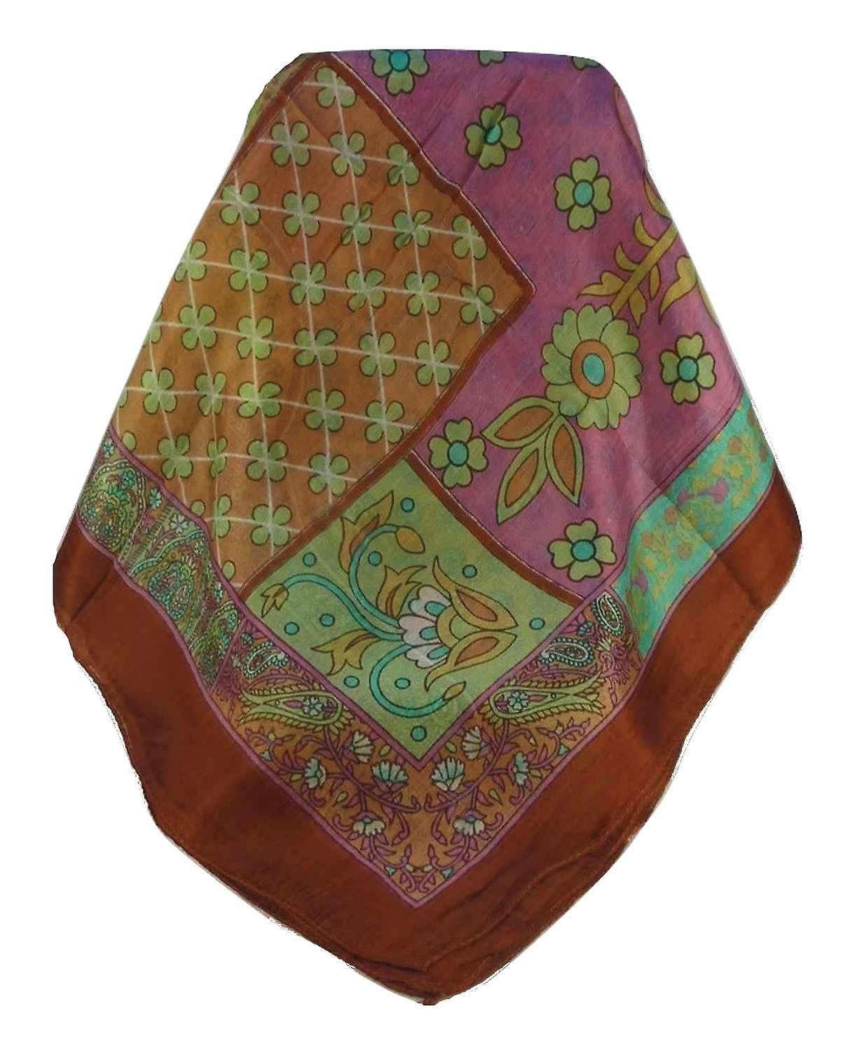 Mulberry Silk Traditional Square Scarf Qia Terracotta by Pashmina & Silk
