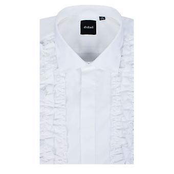Dobell Mens White Dress Shirt Regular Fit Ruffle Front