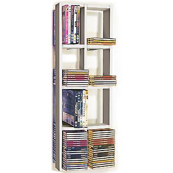 Iris - podwójne ścianki 152 Cd / 64 Dvd / Blu Ray magazynu Rama Półka - biały