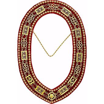 Grand Lodge - Rhinestones Chain Collar - Gold/Silver on Red Velvet