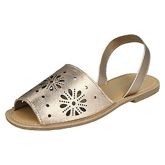 Ladies Leather Collection Flower Design Mules F00144 - Dull Gold Leather - UK Size 3 - EU Size 36 - US Size 5