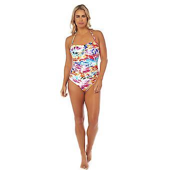 Seaspray SY007787 Women's Paradise White Multicolour Floral Costume One Piece Draped Bandeau Swimsuit