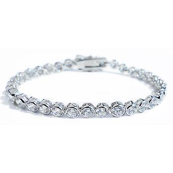 Ah! Jewellery 4mm Brilliant Round Tennis Bracelet in a Stunning Bezel Setting. 19.5cm Total Length.