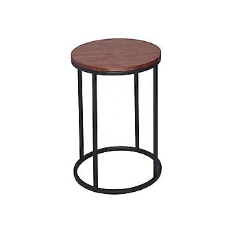 Gillmore Walnut And Black Metal Contemporary Circular Side Table