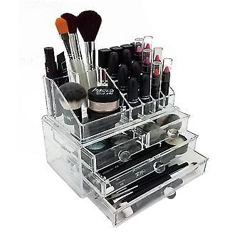 Pantalla de la caja de almacenamiento de maquillaje cosmético y joyería OnDisplay - diseño de 4 cajones por niveles - perfecto para vanidad, contador de baño o tocador