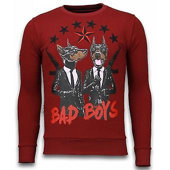 Bad Boys-Rhinestone Sweatshirt-Bordeaux