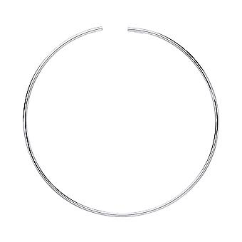 Jewelco London Ladies Rhodium Plated Sterling Silver Flexi Tube Choker Collarette Necklace 2mm 14 inch + 15mm gap