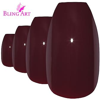 False nails by bling art red brown polished ballerina long medium fake tips