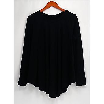 AnyBody Top Loungewear Cozy Knit Split Swing Black