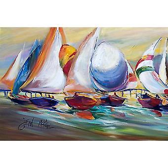 Carolines schatten JMK1040PLMT zeilboot race in Dauphin eiland stof placemat