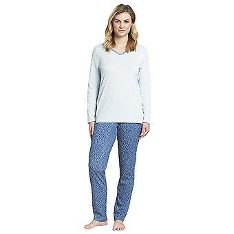 Rosch 1193655-16554 Women's Smart Casual Glacier Blue Spotted Drops Cotton Pyjama Set
