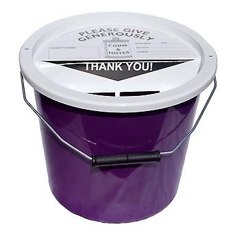 4 Charity Money Collection Buckets 5.7 Litres - Purple