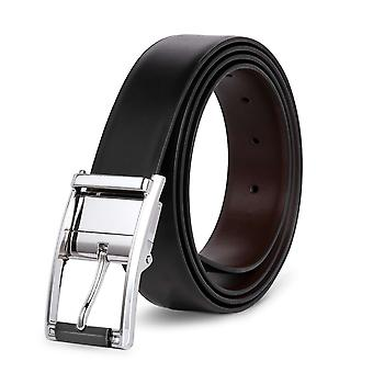 Allthemen Men's Both Sides Available Bright Silver Reversible Pin Buckle Leather Belt