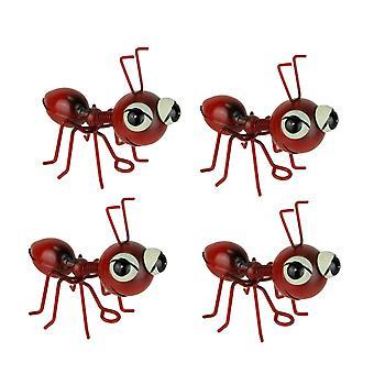 Set van 4 Red Metal Art Big Head Mier Tafel sculpturen / Muur opknoping
