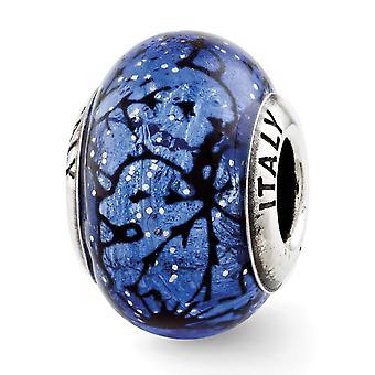 925 Plata esterlina pulido acabado antiguo Reflejos azul con líneas negras Italian Murano Glass Bead Charm