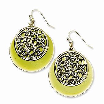 Shepherd hook Brass tone Filigree and Green Enamel Circle Long Drop Dangle Earrings Jewelry Gifts for Women
