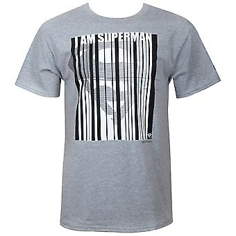 Superman Barcode Men's Grey T-Shirt