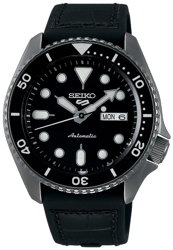 Seiko 5 Sports Black Dial Silicone Strap Automatic Mens Watch SRPD65K3