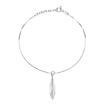 Jewelco Londyn Panie Rhodium Plated Sterling Silver Angel Wing Feather Charm Anklet 9 + 1 cal