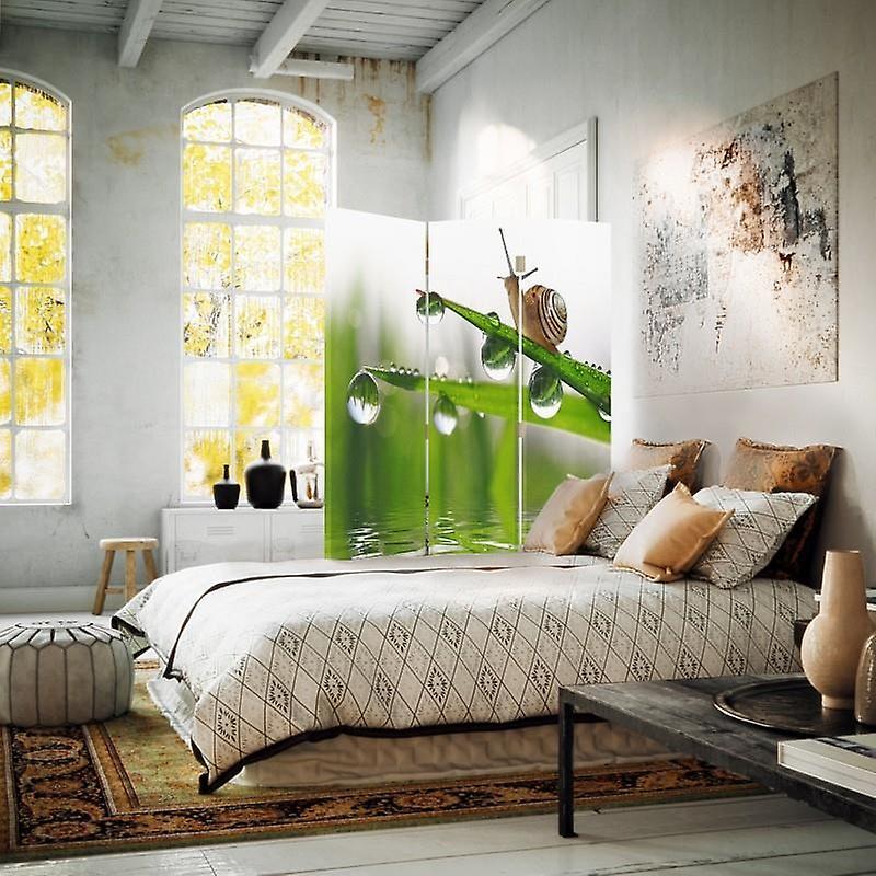 Diviseur de chambre, 3 panneaux, unilatéral, toile, escargot sur l'herbe