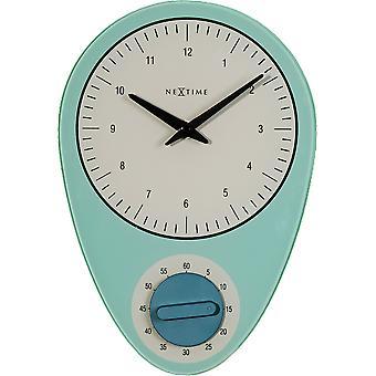 NeXtime - Wall clock - Ø 27.5 cm - Glass – Blue – 'Hans'