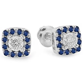 Dazzlingrock Collection 18K Blue Sapphire & White Diamond Ladies Square Halo Stud Earrings, White Gold