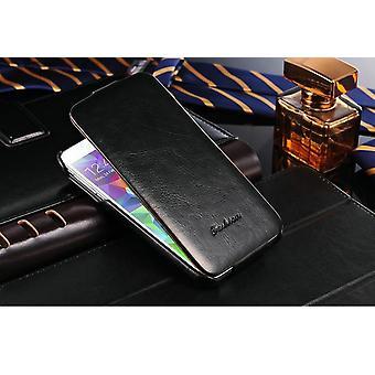 Galaxy S5 caso de lujo Flip cuero negro