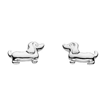 Dew Sterling Silver Dinky Charming Sausage Dog Stud Earrings 4860HP020