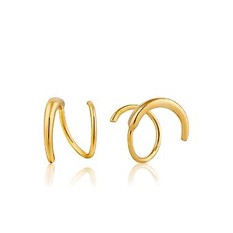Ania Haie Sterling Silver Shiny Gold Plated Twist Earrings E008-02G