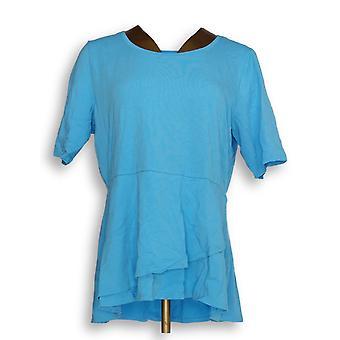 Isaac Mizrahi Live! Frauen's Top Ellenbogen Ärmel Peplum Flounce blau A303962