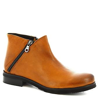 Leonardo Shoes Chaussures Femmes apos;s bottines faites à la main en cuir de veau tan avec fermeture éclair latérale