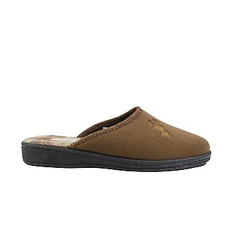 Mirak Buck Tan textiel mens slip op mule slippers