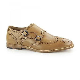 Paolo Vandini Powick Mens Leather Wingtip Brogue Monk Shoes Tan